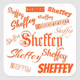 Orange Sheffey Fonts - 9569 fro weddings Square Sticker