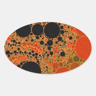 Orange Sherbert Abstract Oval Sticker