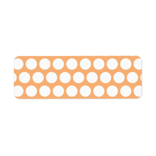 Orange Sherbet and White Polka Dots Return Address Label