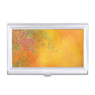 Orange Sherbet Ivy Vines lavender flowers pink Business Card Holder