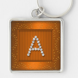 Orange Shimmer and Sparkle with Monogram Key Chains