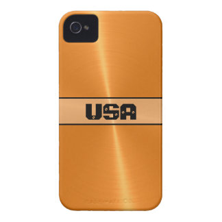 Orange Shiny Stainless Steel Metal 5 iPhone 4 Case-Mate Case