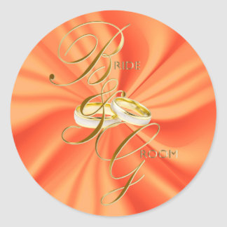 Orange Silky Satin and Gold Wedding Rings Round Sticker