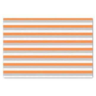 Orange, Silver and White Stripes Tissue Paper