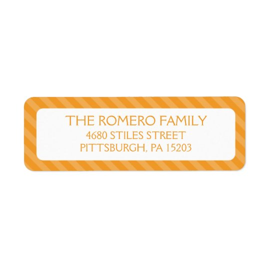 Orange Simple Stripes Custom Personalised Return Address Label