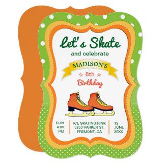 Orange Skate Ice Skating Birthday Party Invitation