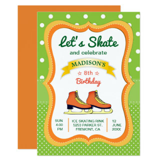 Orange Skate Ice Skating Birthday Party Invitation