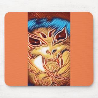 Orange skull mouse pad