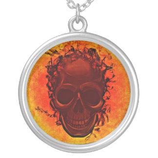 Orange skull round pendant necklace