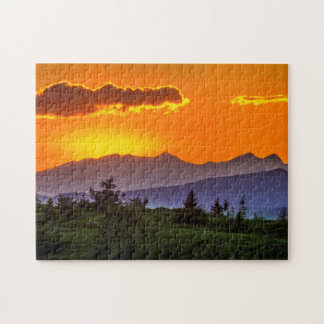 Orange Sky, Blue Mountains Jigsaw Puzzle