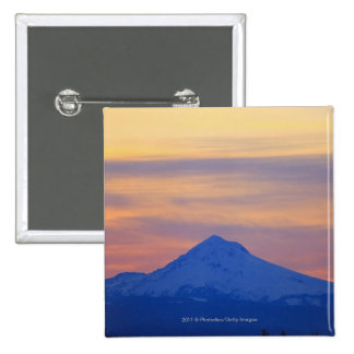 Orange Sky Snow Capped Blue Mountain 15 Cm Square Badge