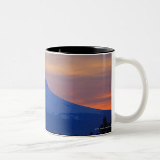 Orange Sky Snow Capped Blue Mountain Two-Tone Coffee Mug