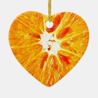 Orange Slice Dble-sided Heart Ornanent Ceramic Ornament