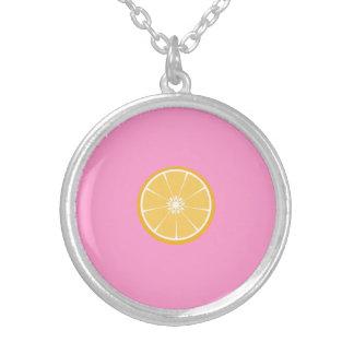 Orange slice round pendant necklace