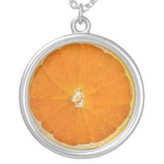 Orange slice water color necklace