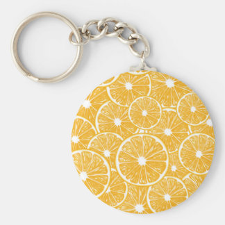 Orange slices pattern design basic round button key ring