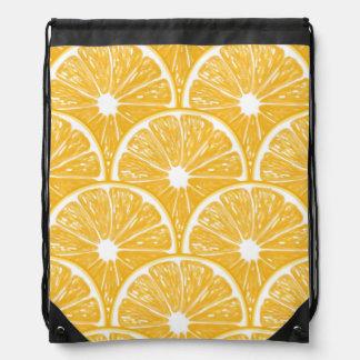 Orange slices, tropical fruit pattern design drawstring bag