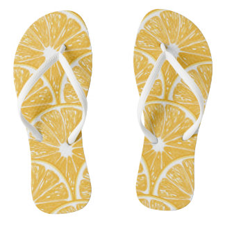 Orange slices, tropical fruit pattern design thongs