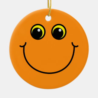 Orange Smiley Face Ceramic Ornament