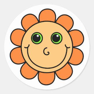 Orange Smiley Face Flower Classic Round Sticker