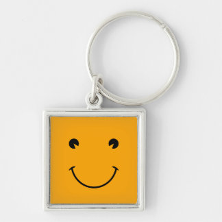 Orange Smiley Face Key Ring