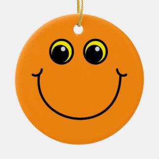 Orange Smiley Face Round Ceramic Decoration