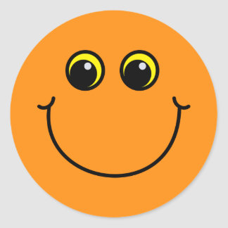 Orange Smiley Face Round Sticker