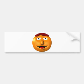 Orange smiley man with his tounge out bumper sticker