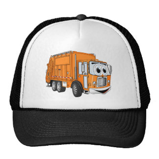 Orange Smiling Garbage Truck Cartoon Cap