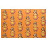 Orange Smiling Jack O' Lantern Snowman Fabric