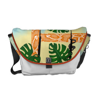 Orange Snakeskin Tropical Leaves Commuter Bags