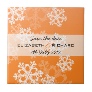 Orange Snowflakes Christmas Save the date Tile