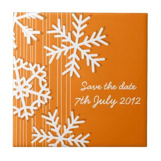 Orange Snowflakes Christmas Save the date Tile