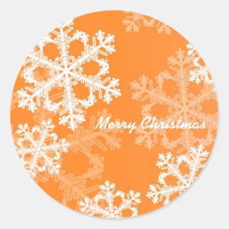 Orange Snowflakes Christmas Sticker