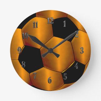 Orange Soccer Ball Clock