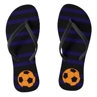 Orange Soccer Ball Flip Flops Thongs