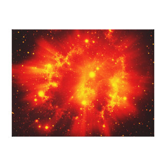 Orange space sky stretched canvas prints