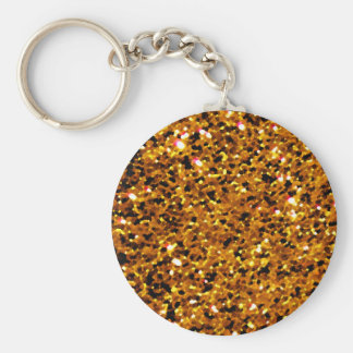 Orange Sparkles Basic Round Button Key Ring