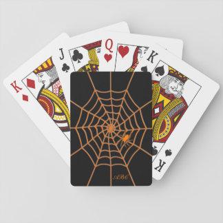 Orange spider and web black initialled card decks