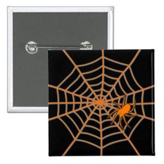 Orange spider and web on black 15 cm square badge