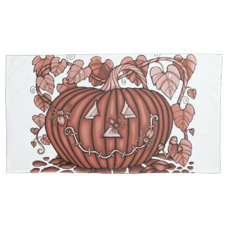 Orange Spidery Pumpkin Pillowcase