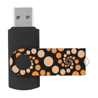 Orange Spiral Dots Black 64 GB USB USB Flash Drive