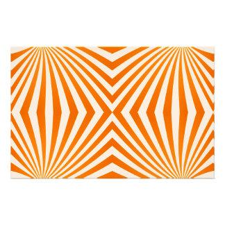 Orange spiral pattern customized stationery