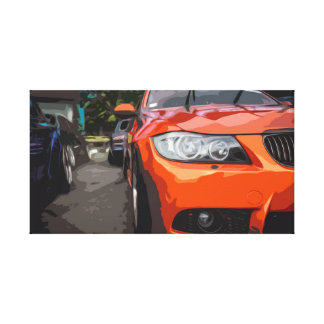 Orange Sports Car Canvas with Simple Design