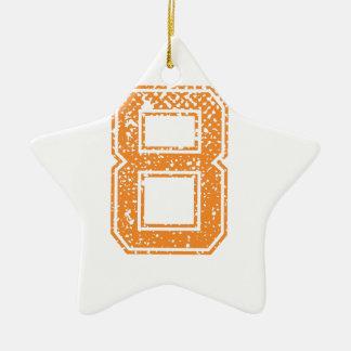 Orange Sports Jerzee Number 08.png Ceramic Star Decoration