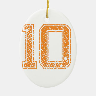 Orange Sports Jerzee Number 10.png Ceramic Ornament