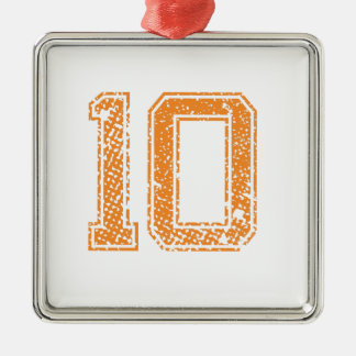 Orange Sports Jerzee Number 10.png Silver-Colored Square Decoration