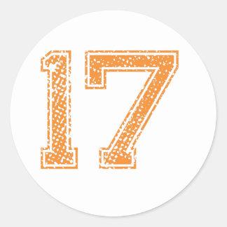 Orange Sports Jerzee Number 17.png Classic Round Sticker