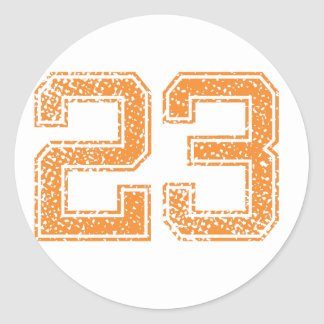 Orange Sports Jerzee Number 23.png Classic Round Sticker