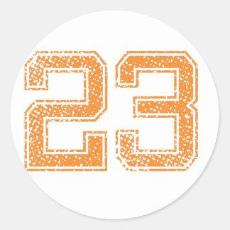 Orange Sports Jerzee Number 23.png Round Sticker